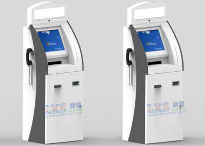 A4 Laser Printer Telekiosk Bill Acceptor Payment Kiosk , 3 Tracks USB MSR Wireless Card Reader